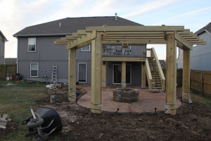 View toward the house. You can kind of see the removable projector shelf hanging down from the pergola.