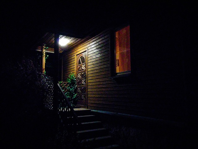 photo of a front porch in the dark